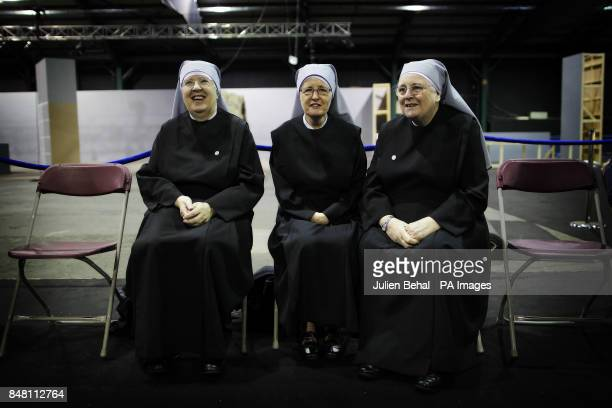 Little Sisters of the Poor nuns Sister Patrica Donovan Sister Mary Christina and Sister Marie Therese at the RDS Dublin as final preparations are...