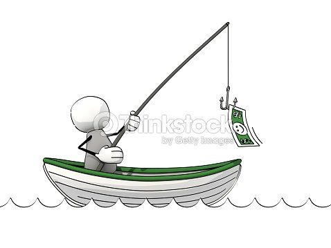 Little sketchy man in a rowboat fishing for money stock for Fish for cash
