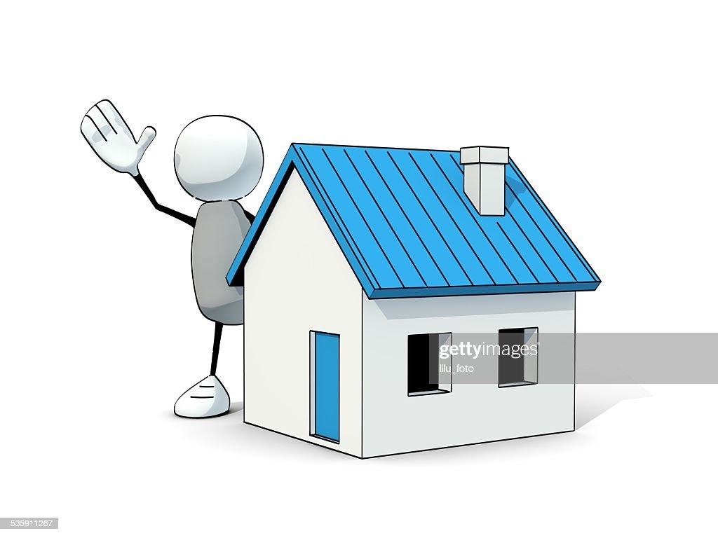 Pouco animado homem com uma azul de Casa : Foto de stock