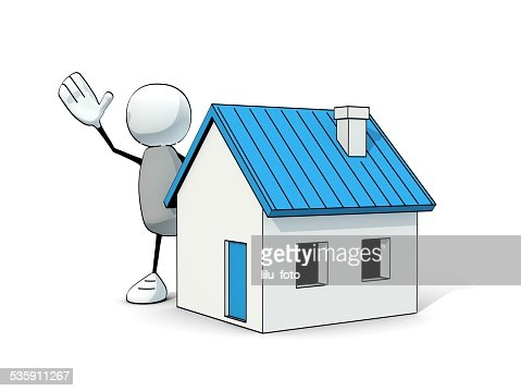 little sketchy man with a blue house : Stock Photo