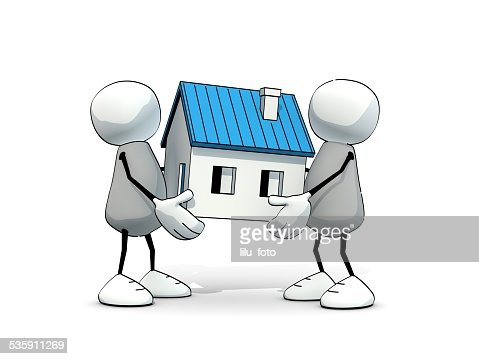 little sketchy men carrying a blue house : Stock Photo