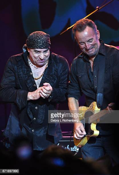 Little Steven is joined by Bruce Springsteen during Little Steven and The Disciples of Soul Concert at the Asbury Park Music and Film Festival at the...