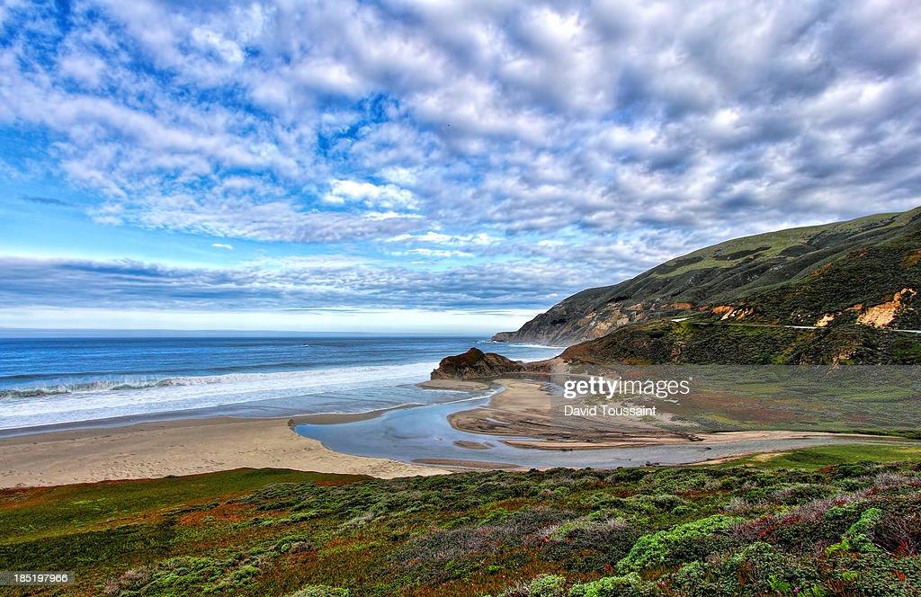 Little Sur River enters the Pacific Ocean