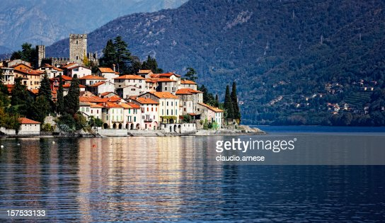 Little Town on Lake Como. Color Image