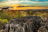 Beautiful sunset view on the unique geography at the Tsingy de Bemaraha Strict Nature Reserve in Madagascar