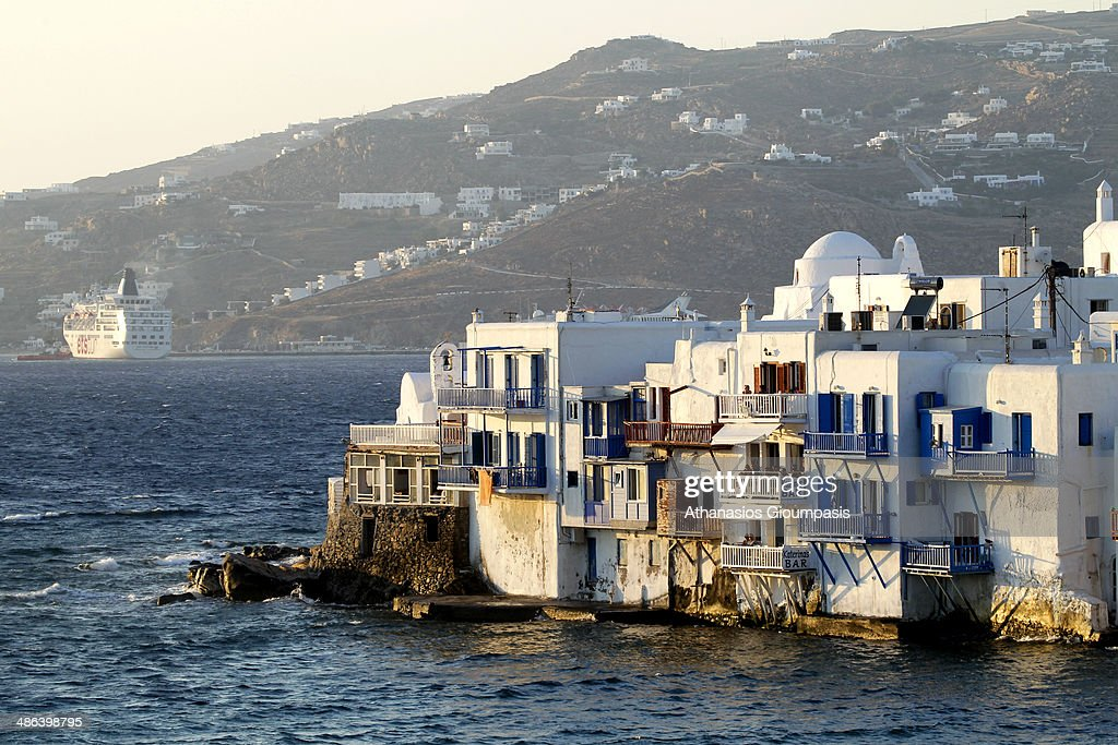 little Venice at the port of Chora the capital on June 29 2013 in Mykonos Island Greece