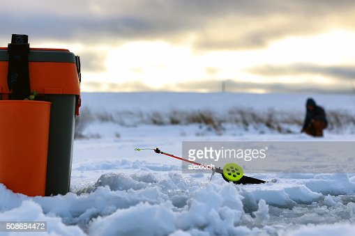 Little winter fishing rod ice : Stock Photo