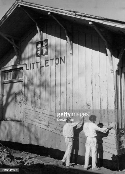 Littleton Depot Painters Scrape Old Paint Before Restoring Exterior Of Depot Credit Denver Post