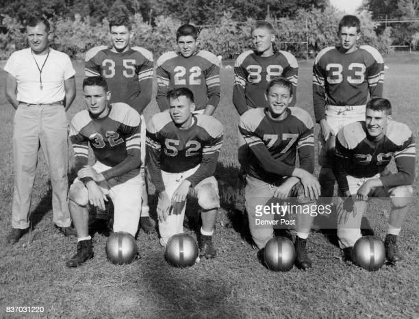 Littleton High School Front Bill Hunt e Mickey Ashcroft e Bob Burge e Dave Coleman e Back Coach Lyle Dines Larry nelson hb Butch Gardner qb John...