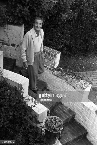 1949 Littlewick Green Maidenhead England A picture of Welsh actor composer songwriter and playwright Ivor Novello in the garden of his home