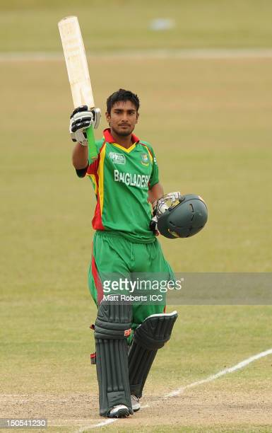 Litton Kumer Das of Bangladesh celebrates reaching his century during the ICC U19 Cricket World Cup 2012 Semi Final match between Bangladesh and...
