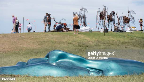 'Littoral Echo' by Sonia Payes lies in the grass as final preperations go on behind at Sculpture By The Sea on October 18 2017 in Sydney Australia...