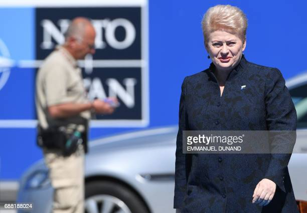 Lituania's President Dalia Grybauskaite arrives for the NATO summit at the NATO headquarters in Brussels on May 25 2017 / AFP PHOTO / Emmanuel DUNAND