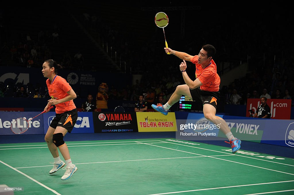 Liu Cheng and <a gi-track='captionPersonalityLinkClicked' href=/galleries/search?phrase=Bao+Yixin&family=editorial&specificpeople=8308329 ng-click='$event.stopPropagation()'>Bao Yixin</a> of China return a shot against Tontowi Ahmad and Liliyana Natsir of Indonesia during the 2015 BCA Indonesia Open Quarterfinals match at Istora Senayan on June 5, 2015 in Jakarta, Indonesia.