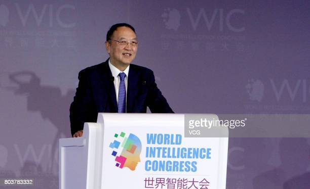 Liu Chuanzhi Founder of Lenovo Group Limited delivers a speech during World Intelligence Congress at Tianjin Meijiang Convention and Exhibition...