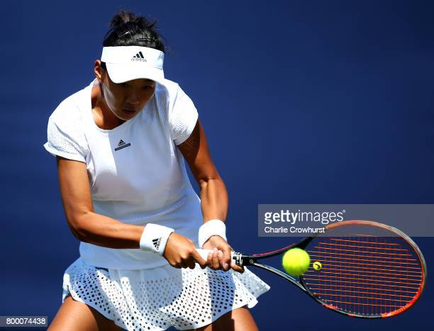 Liu Fangzhou of China in action during her women's qualifying match against Sorana Cirstea of Romania during qualifying on day one of the Aegon...