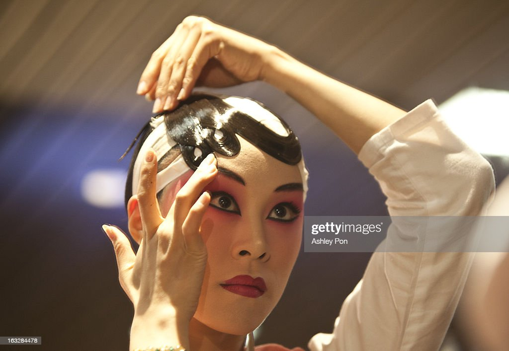 Liu Jia-hou of the Taiwan Guoguang Opera Company prepares to perform scenes from 'Flowing Sleeves and Rouge' as part of the Taiwan International Festival of the Arts at the National Theatre on March 7, 2013 in Taipei, Taiwan.