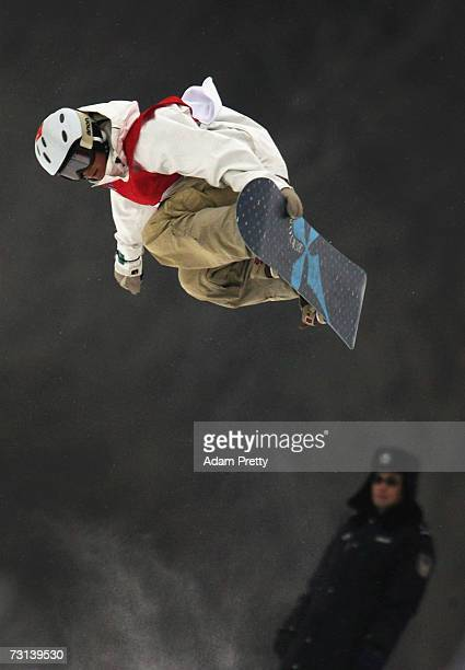Liu Jiayu of China gets some big air and the bronze medal in the half pipe during the womens snowboard half pipe final of the sixth Asian Winter...