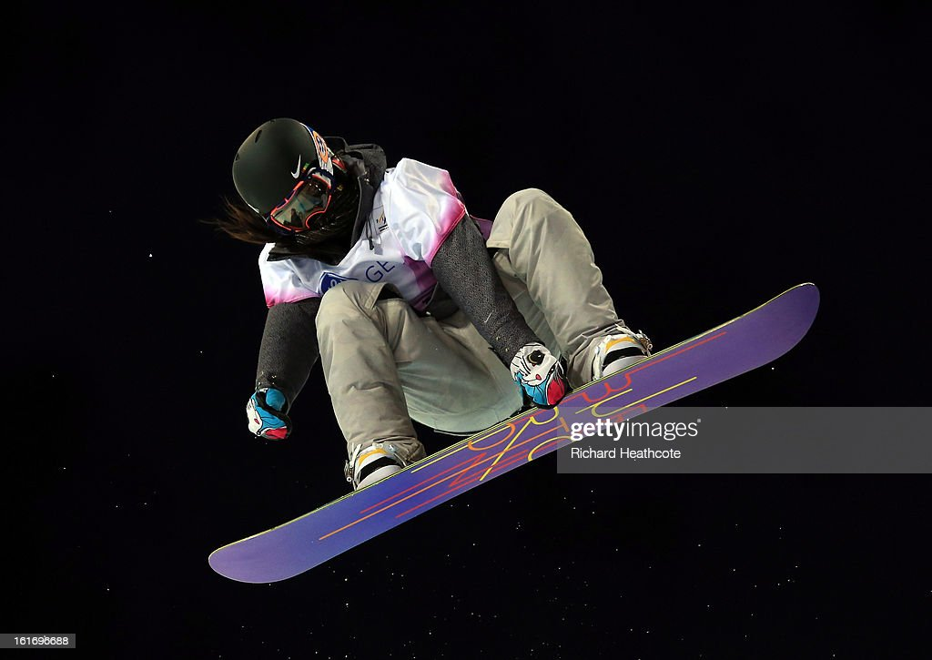 Liu Jiayu of China in action during the womens FIS World Cup Snowboard Half Pipe competition at the Rosa Khutor Extreme Park in Krasnya Polyana on February 14, 2013 in Sochi, Russia. Sochi is preparing for the 2014 Winter Olympics with test events across the venues.