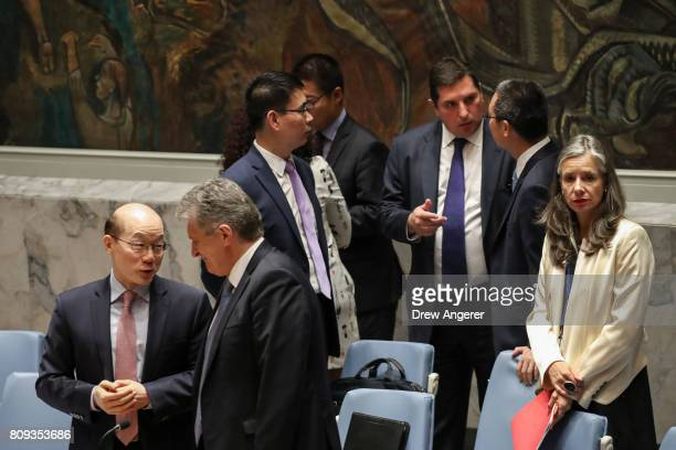 Liu Jieyi Chinese ambassador to the United Nations speaks to Miroslav Jenca UN Assistant SecretaryGeneral for Political Affairs asRussian Deputy...