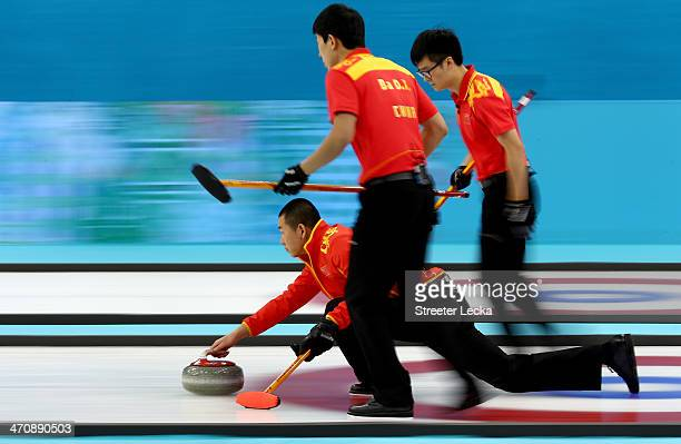 Liu Rui of China competes during the Bronze medal game between China and Sweden at the Ice Cube Curling Center on February 21 2014 in Sochi Russia
