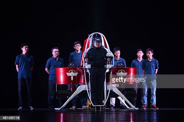 Liu Ruopeng Director of Shenzhen KuangChi Research Institute shows with Martin Jetpack during an innovator conference organized by KuangChi...