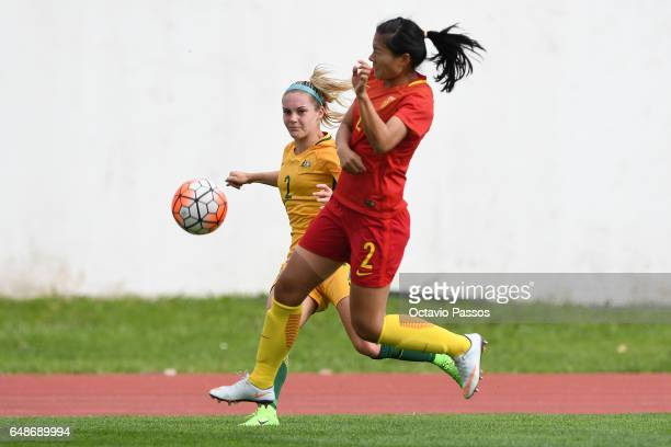 Liu Shanshan of China competes for the ball with Ellie Carpenter of Australia during the Women's Algarve Cup Tournament match between China and...