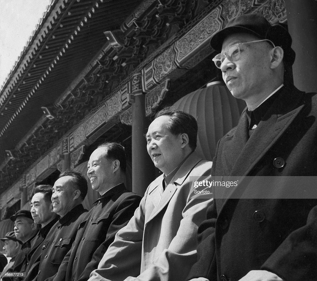 Liu Shaoqi Mao Zedong Peng Chen Zhu De and Zhou Enlai on the Tienanmen rostrum