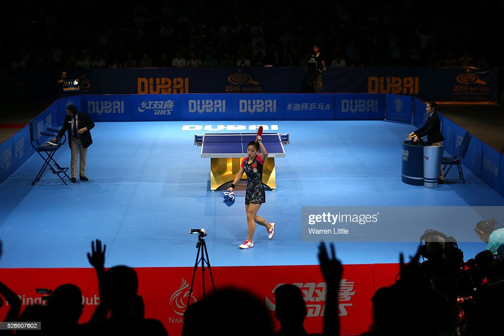 <a gi-track='captionPersonalityLinkClicked' href=/galleries/search?phrase=Liu+Shiwen+-+Table+Tennis+Player&family=editorial&specificpeople=2267824 ng-click='$event.stopPropagation()'>Liu Shiwen</a> of China celebrates beating Li Xiaoxia of China during the Women's singles final of the Nakheel Table Tennis Asian Cup 2016 at Dubai World Trade Centre on April 30, 2016 in Dubai, United Arab Emirates.