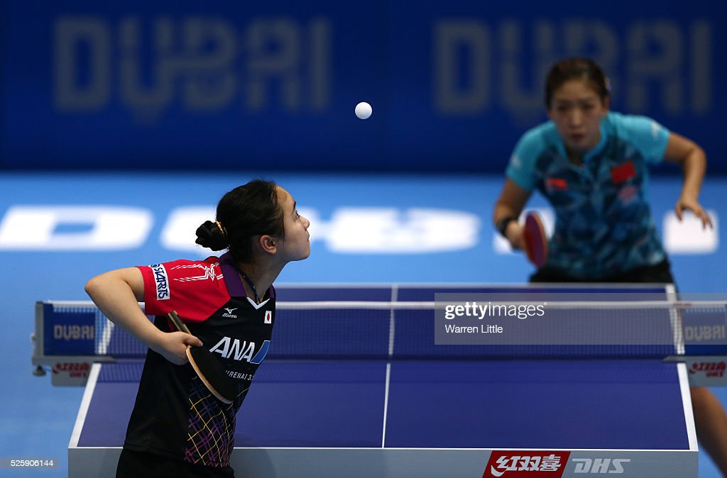 <a gi-track='captionPersonalityLinkClicked' href=/galleries/search?phrase=Liu+Shiwen&family=editorial&specificpeople=2267824 ng-click='$event.stopPropagation()'>Liu Shiwen</a> of China in action against Mima Ito of Japan during day two of the Nakheel Table Tennis Asian Cup 2016 at Dubai World Trade Centre on April 29, 2016 in Dubai, United Arab Emirates.