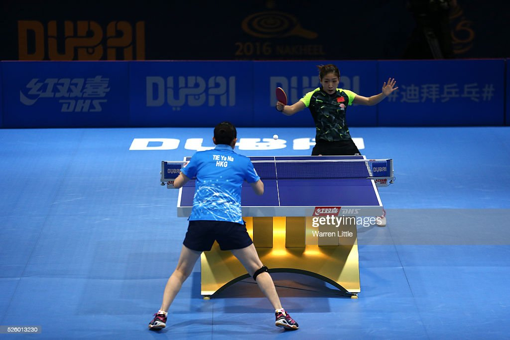 <a gi-track='captionPersonalityLinkClicked' href=/galleries/search?phrase=Liu+Shiwen&family=editorial&specificpeople=2267824 ng-click='$event.stopPropagation()'>Liu Shiwen</a> of China in action against Tie Yana of Hong Kong during the semi final of the Women's Singles matches on day two of the Nakheel Table Tennis Asian Cup 2016 at Dubai World Trade Centre on April 29, 2016 in Dubai, United Arab Emirates.
