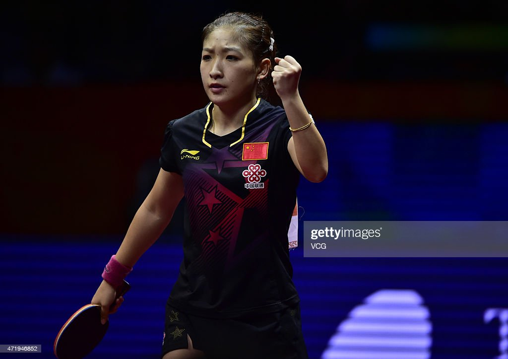 <a gi-track='captionPersonalityLinkClicked' href=/galleries/search?phrase=Liu+Shiwen+-+Table+Tennis+Player&family=editorial&specificpeople=2267824 ng-click='$event.stopPropagation()'>Liu Shiwen</a> of China reacts against Ding Ning of China during women's singles final match on day seven of the 2015 World Table Tennis Championships at the Suzhou International Expo Center on May 2, 2015 in Suzhou, China.