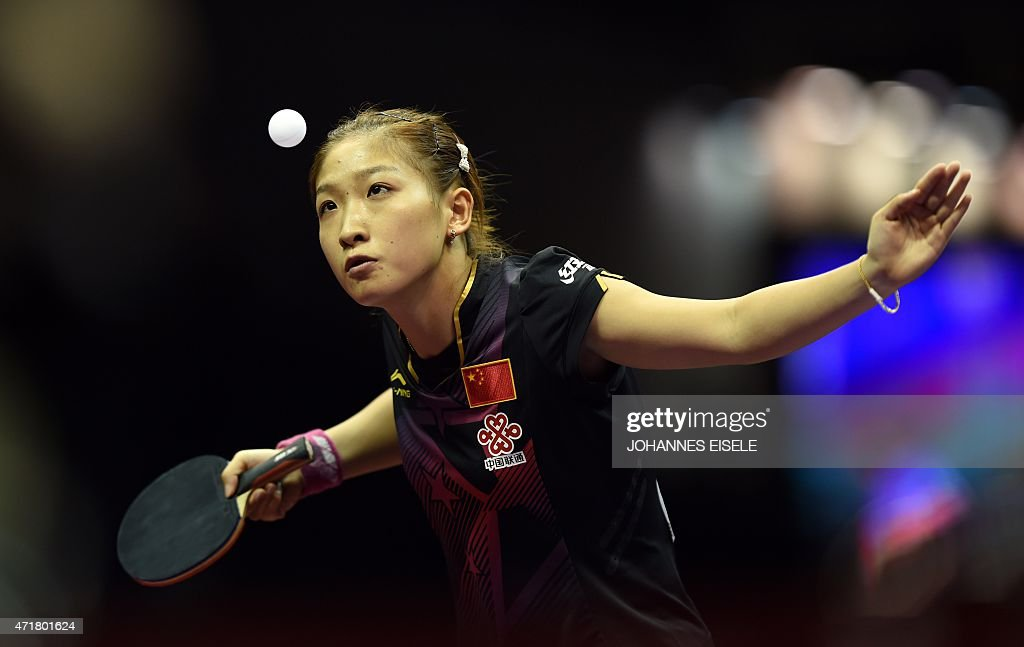 <a gi-track='captionPersonalityLinkClicked' href=/galleries/search?phrase=Liu+Shiwen+-+Table+Tennis+Player&family=editorial&specificpeople=2267824 ng-click='$event.stopPropagation()'>Liu Shiwen</a> of China serves during her women's singles quarter-final match against Zhu Yuling of China at the 2015 World Table Tennis Championships at the Suzhou International Expo Center in Suzhou, Jiangsu province on May 1, 2015.