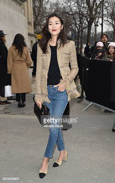 Liu Wen arrives at the Chanel Fashion Show during Paris Fashion Week Haute Couture F/W 20172018 on January 24 2017 in Paris France