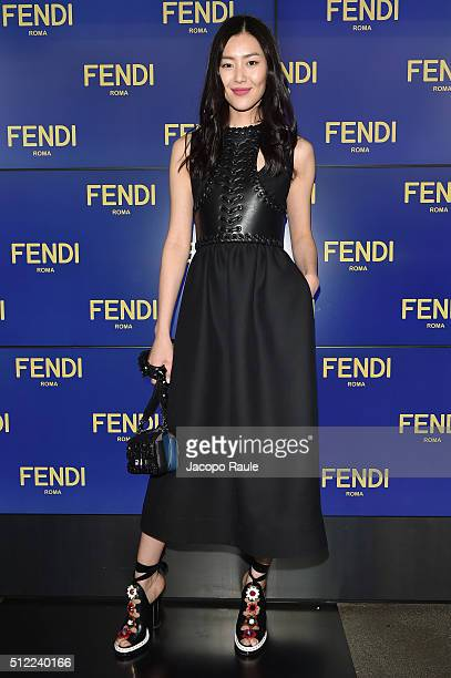 Liu Wen arrives at the Fendi show during Milan Fashion Week Fall/Winter 2016/17 on February 25 2016 in Milan Italy