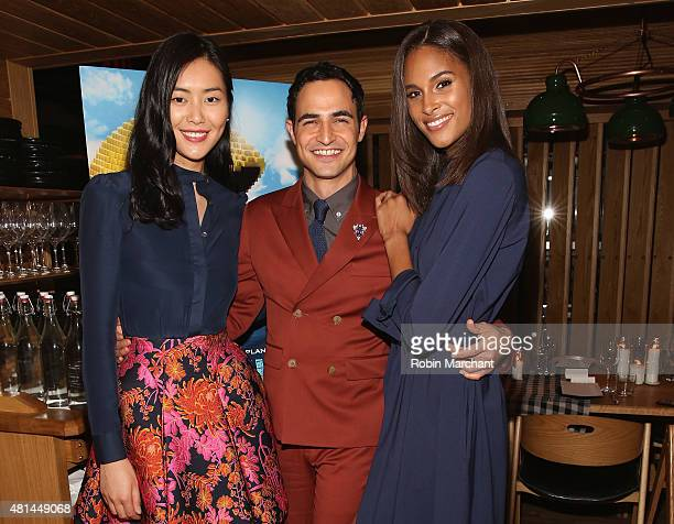 Liu Wen Zac Posen and Cindy Bruna attend a Dinner Honoring The Women Of 'Pixels' at Upland on July 20 2015 in New York City