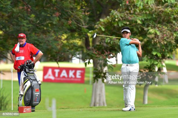 Liu Yan Wei of CHN plays a shot during practice ahead of the TAKE Solutions Masters at Karnataka Golf Association Golf Course on August 1 2017 in...