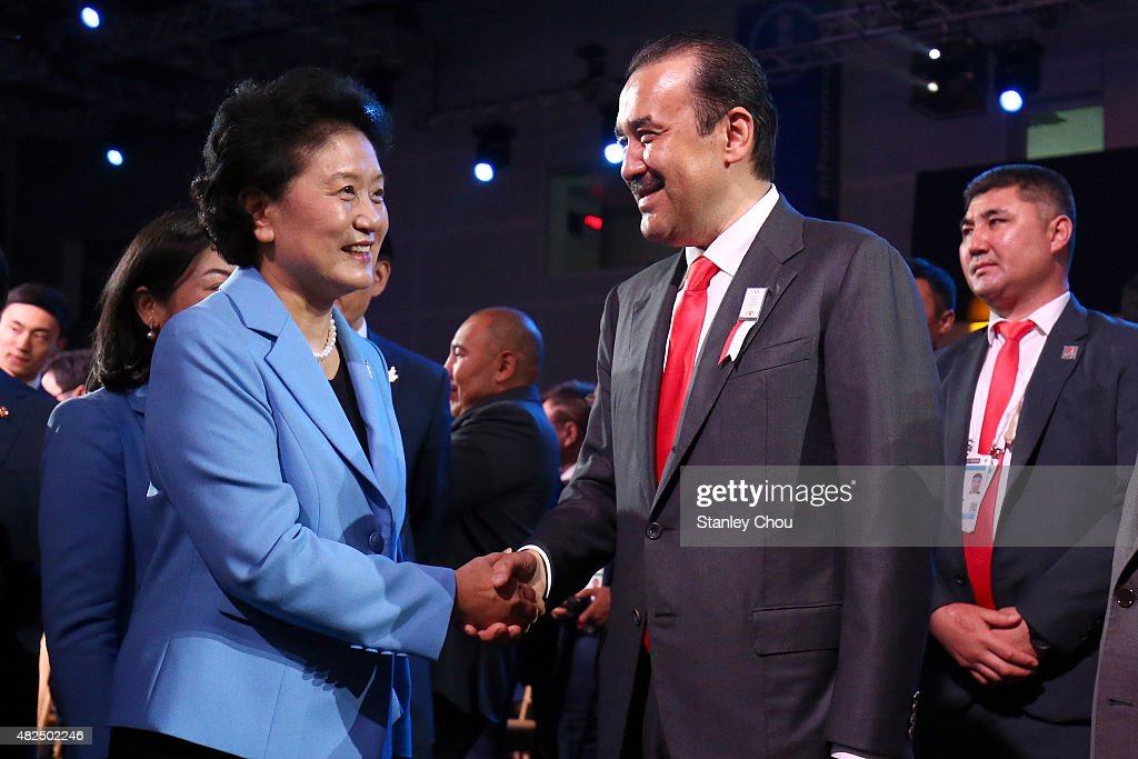 <a gi-track='captionPersonalityLinkClicked' href=/galleries/search?phrase=Liu+Yandong&family=editorial&specificpeople=4375362 ng-click='$event.stopPropagation()'>Liu Yandong</a>, Vice Premier of the State Council of China Republic and Head of the Beijing 2022 Delegation is congratulated by Karim Massimov, Prime Minister of Kazakhstan after Beijing is awarded as host city for the 2022 Winter Olympic Games during the Announcement Ceremony at the 128th IOC Session at the Kuala Lumpur Convention Centre on July 31, 2015 in Kuala Lumpur, Malaysia.
