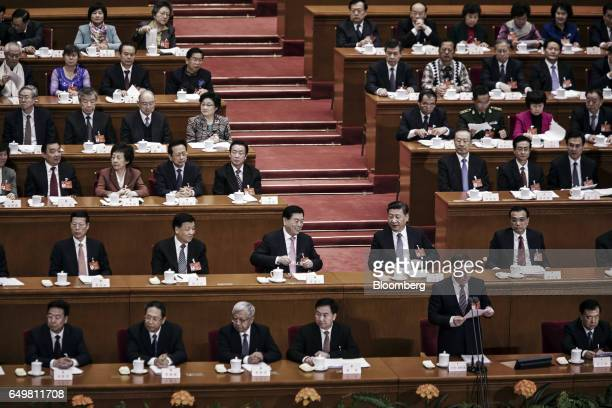 Liu Yunshan deputy general secretary of the Communist Party of China second row from second left Zhang Dejiang chairman of the Standing Committee of...