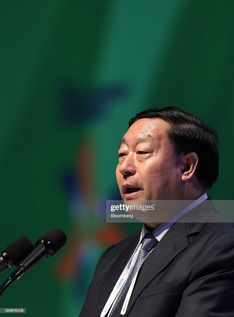 Liu Zhenya president of China State Grid Corp speaks during the 22nd World Energy Congress in Daegu South Korea on Tuesday Oct 15 2013 The WEC a...