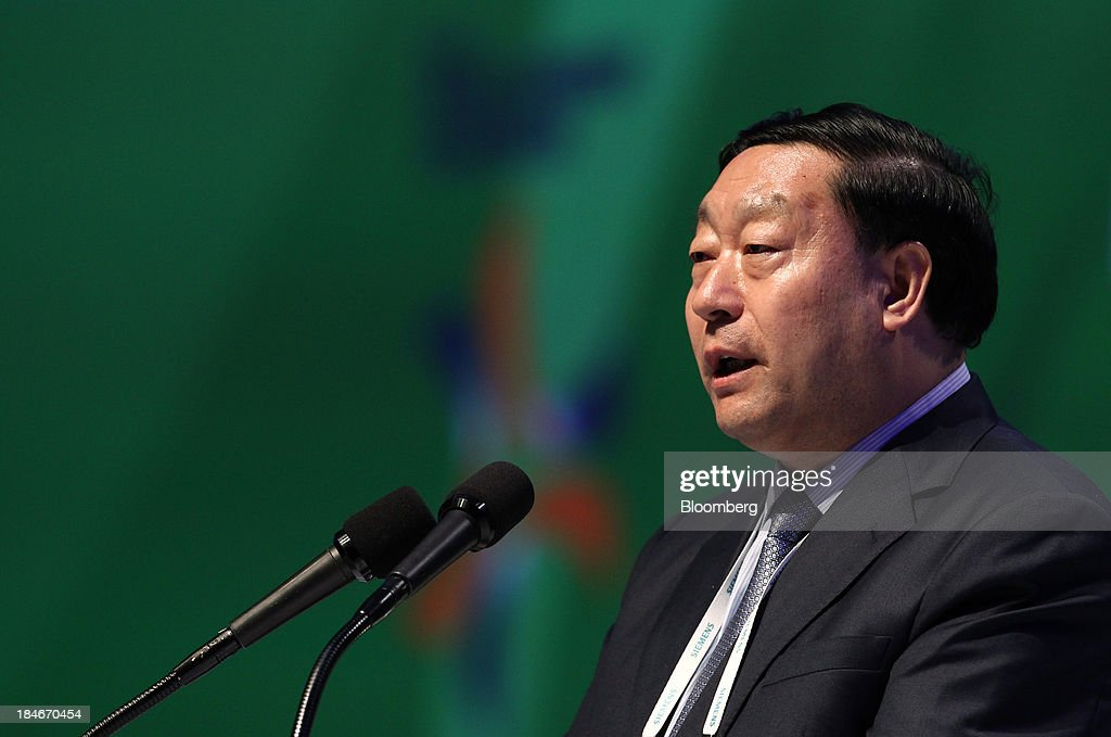 Liu Zhenya, president of China State Grid Corp., speaks during the 22nd World Energy Congress (WEC) in Daegu, South Korea, on Tuesday, Oct. 15, 2013. The WEC, a global conference on the energy market, runs until Oct. 17. Photographer: SeongJoon Cho/Bloomberg via Getty Images