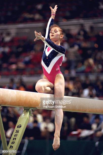 Liubov Sheremeta of Ukraine competes in the Balance Beam final during the Chunichi Cup Artistic Gymnastics at Nagoya City Gymnasium on December 17...