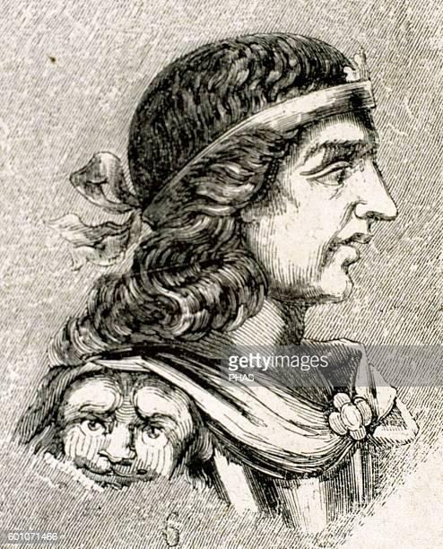 Liuva II Visigothic King of Hispania Septimania and Galicia from 601603 Portrait Engraving