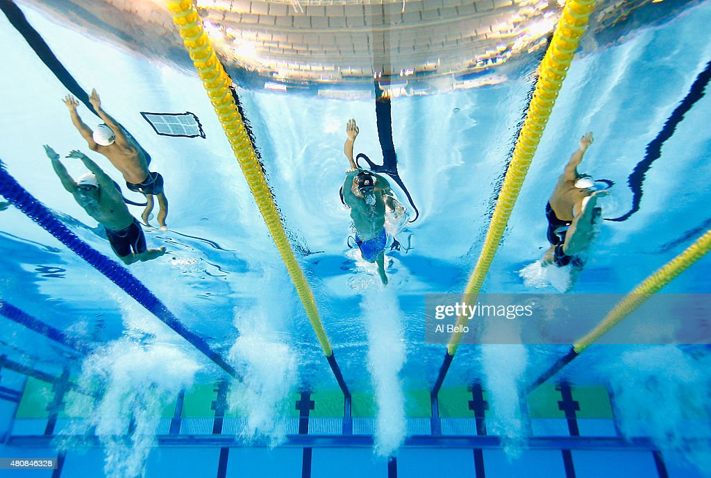 Liuz Melo of Brazil, <a gi-track='captionPersonalityLinkClicked' href=/galleries/search?phrase=Michael+Weiss+-+Swimmer&family=editorial&specificpeople=14835132 ng-click='$event.stopPropagation()'>Michael Weiss</a> of the USA Jeremy Bagshaw of Canada swim the 4x200 Freestyle finals at the Pan Am Games on July 15, 2015 in Toronto, Canada.