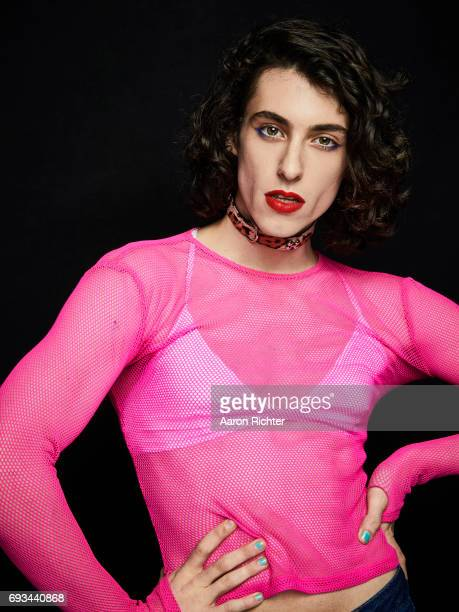 Liv Bruce of punk duo PWR BTTM is photographed for Billboard Magazine on March 1 2017 at Robert Bar in Brooklyn New York