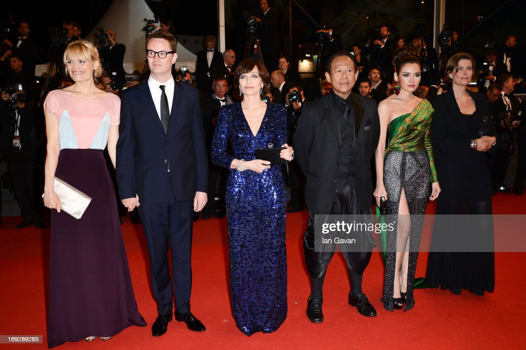 Liv Corfixen, director Nicolas Winding Refn, Kristin Scott Thomas, actors Vithaya Pansringarm, Rhatha Phongam and producer Lene Borglum attend the 'Only God Forgives' Premiere during the 66th Annual Cannes Film Festival at Palais des Festivals on May 22, 2013 in Cannes, France.