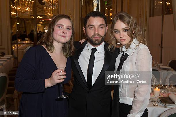 Liv Henneguier Guillaume Gouix and Lily Rose Depp attend the 'Cesar Revelations 2017' on January 16 2017 in Paris France