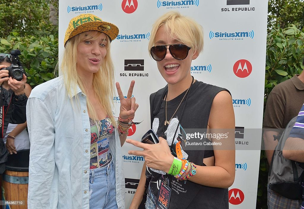 Liv Nervo and Mim Nervo of Nervo Sisters visit the SiriusXM Music Lounge at the W Hotel in Miami on March 22, 2013 in Miami, Florida.