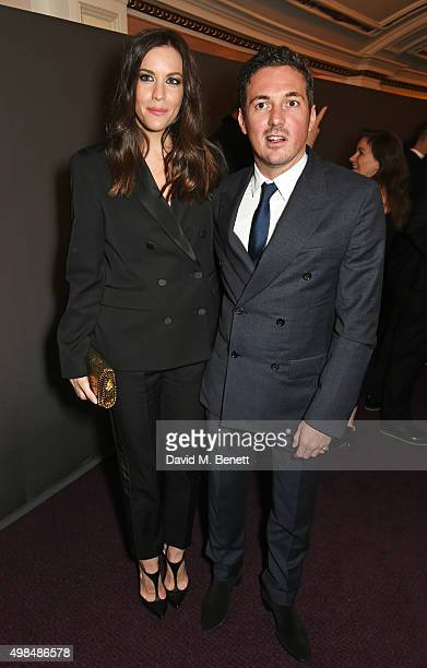 Liv Tyler and Dave Gardner attend a drinks reception at the British Fashion Awards in partnership with Swarovski at the London Coliseum on November...