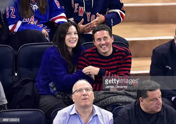 Liv Tyler and Dave Gardner attend Ottawa Senators vs New York Rangers game at Madison Square Garden on April 9 2015 in New York City